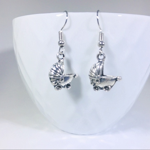 Rad Crafty Jewelry - 🆕👶 Adorable Silver Baby Buggy Charm Earrings